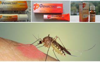 Gel Fenistil de la mușcăturile de țânțari: instrucțiuni, recenzii și analogi